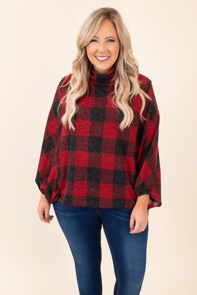 top, poncho, red, black, plaid, long sleeve, warm, winter, fall