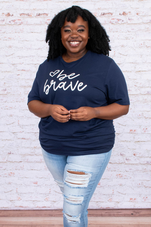 shirt, short sleeve, tee shirt, graphic tee, navy, comfy, be brave, script