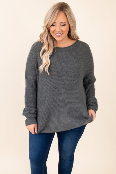 top, round neck, sweater, long sleeve, solid, comfy, neutral, charcoal