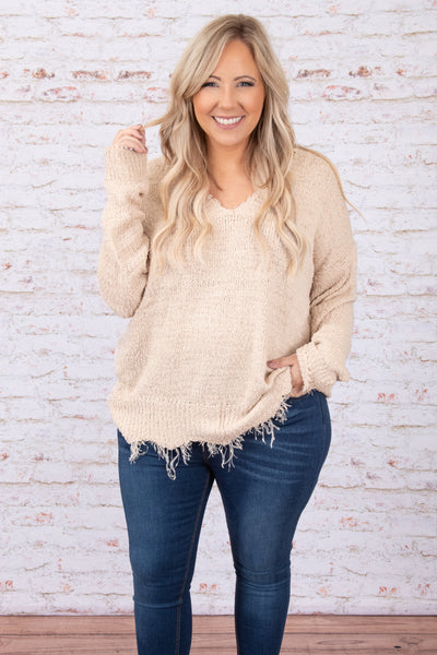 top, sweater, long sleeve, frayed, stone, solid, neutral, comfy, v neck