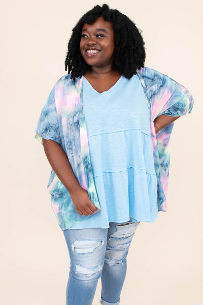 kimono, short sleeve, light weight, tie dye, blue-lime, pink