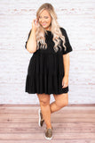 dress, short, babydoll, short sleeve, ruffle sleeves, flowy, black, comfy