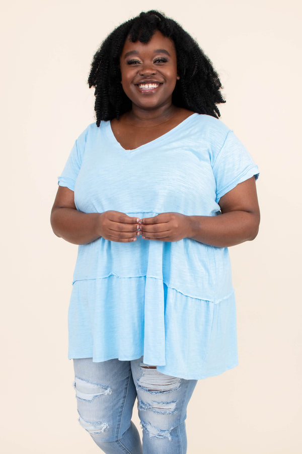 shirt, short sleeve, baby doll, sky blue, light blue, loose, comfy