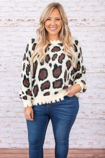 top, cream, print, long sleeve, fringe, trendy, comfy, sweater