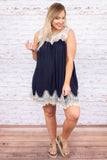 Laced With Love Dress, Navy