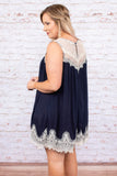 dress, short, sleeveless, flowy, navy, white lace, scalloped hem, comfy, spring, summer