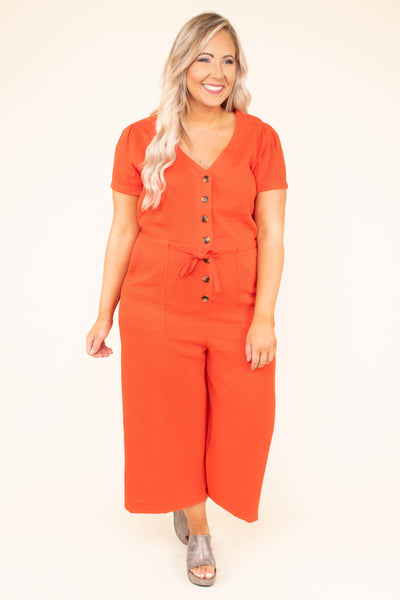 jumpsuit, orange, v neck, button down, crop, short sleeve, tie waist, pockets