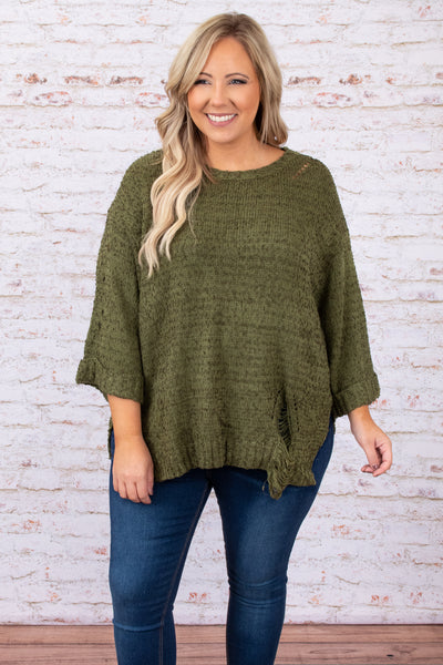 top, sweater, solid, flowy, green, olive, three quarter sleeve, 3/4, cozy