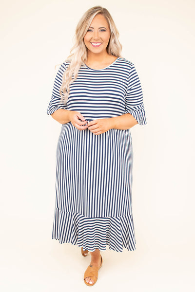 dress, ruffle hem, three quarter sleeve, midi, navy, ivory, stripe
