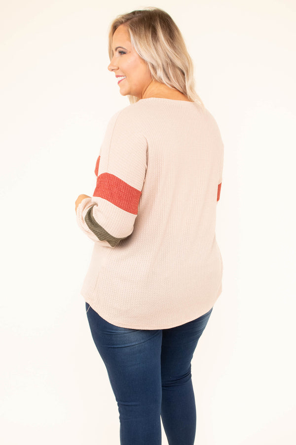 shirt, long sleeve, curved hem, waffle knit, taupe, orange, olive, colorblock, comfy, fall, winter