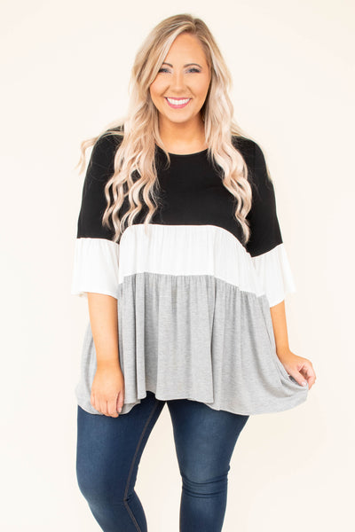 shirt, three quarter sleeve, black, white, gray, colorblock, ruffle sleeves, flowy, comfy