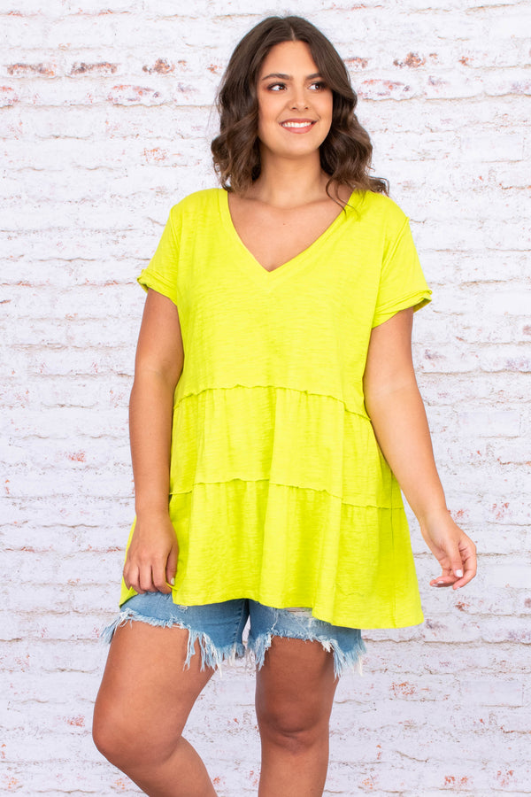 shirt, short sleeve, bright, lime, v neck, baby doll, loose, comfy