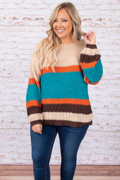 top, sweater, brown, tan, orange, blue, striped, colorblock, long sleeve