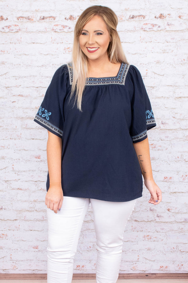 To The Moon And Back Top, Navy