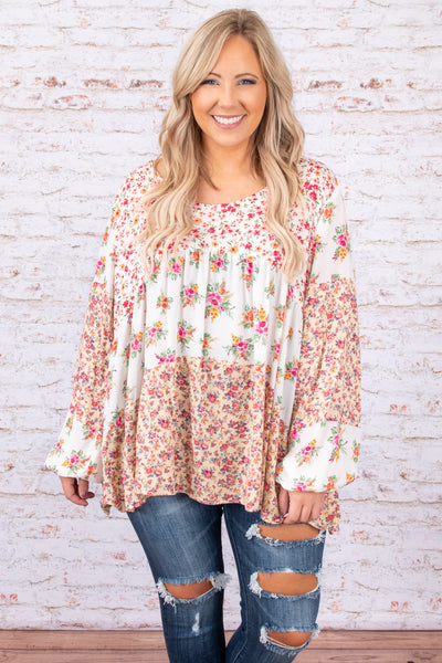 white, top, long sleeve, babydoll, tiered, floral, pink, figure flattering
