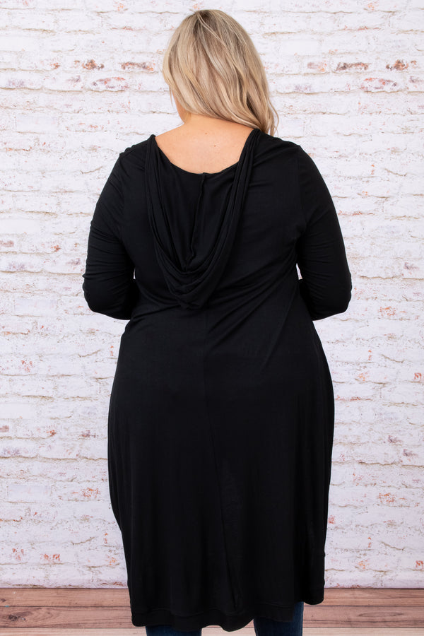tunic, solid, black, neutral, pockets, long flowy, comfy, oversized, top, long sleeves