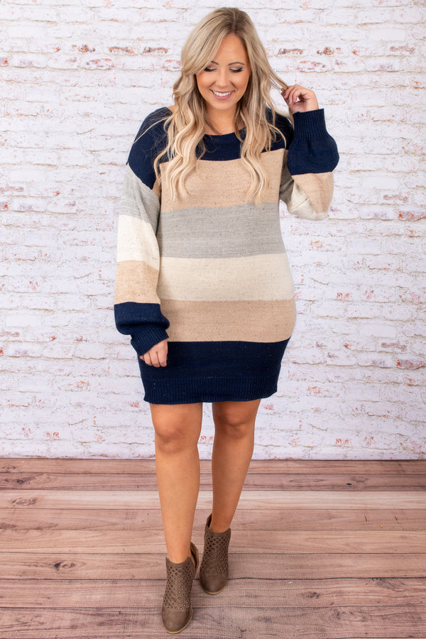dress, sweater, blue, grey, tan, navy, colorblock, stripes, bubble sleeve