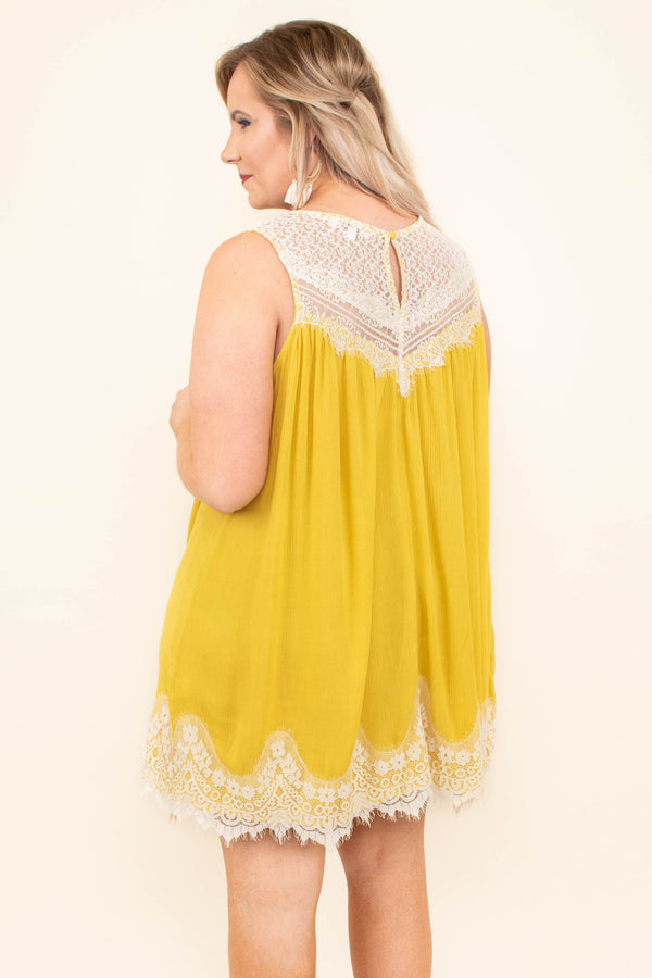 Laced With Love Dress, Goldenrod