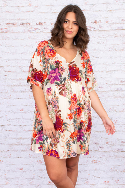 dress,  short dress, above the knee, loose, comfy, spring, summer, short sleeve, floral, ivory, red, v neck