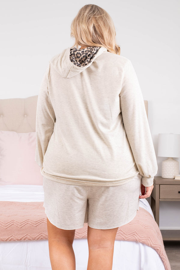 top, hoodie, pullover, brown, pink, colorblock, leopard, long sleeve