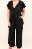 jumpsuit, short sleeve, long pants, vneck, ruffle sleeves, wrap top, belted waist, pockets, black, comfy