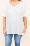 top, casual top, short sleeve, v neck, ivory, split sides, comfy