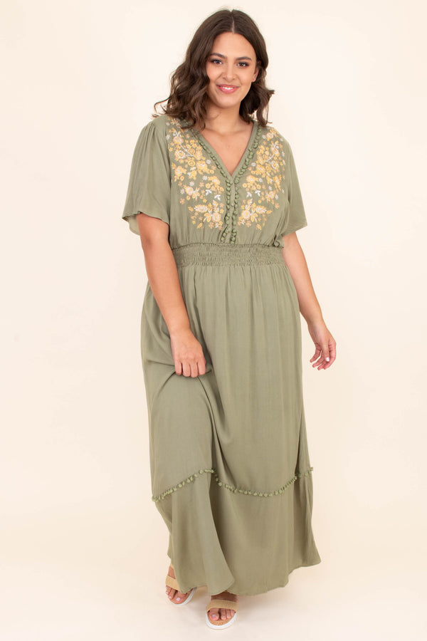 dress, maxi dress, long, v neck, embroidered, sage, yellow, cinched waistline, short sleeve