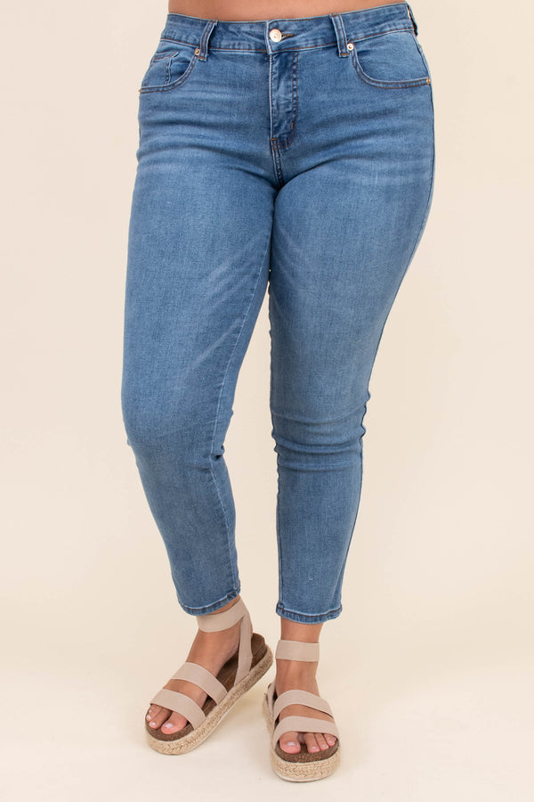 pants, jeans, ankle length, medium wash, skinny