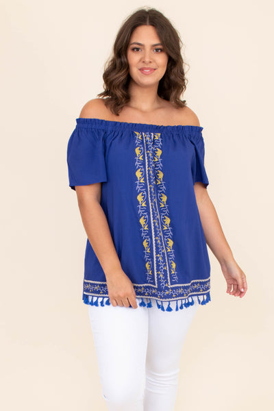 shirt, short sleeve, off the shoulder, royal, blue, tassel hemline, loose, comfy, summer, spring, embroidery, yellow