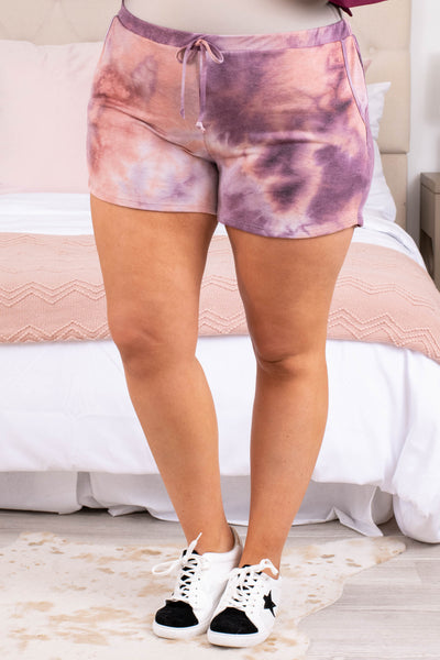 shorts, tie dye, purple, rust, comfy, tie, loungewear