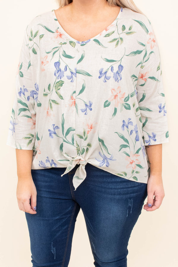 top, three quarter sleeve, oatmeal, tie waist, floral, lavender, blush, green