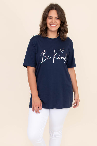 shirt, tee shirt, graphic tee, short sleeve, loose, comfy, navy, white, be kind