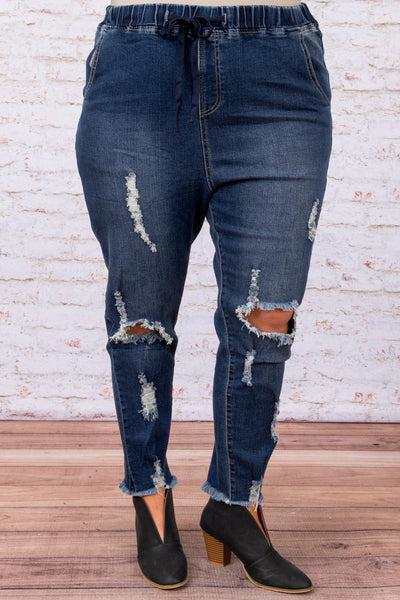 jeans, bottoms, distressing, pockets, figure flattering, fraying, tie, cinched waist