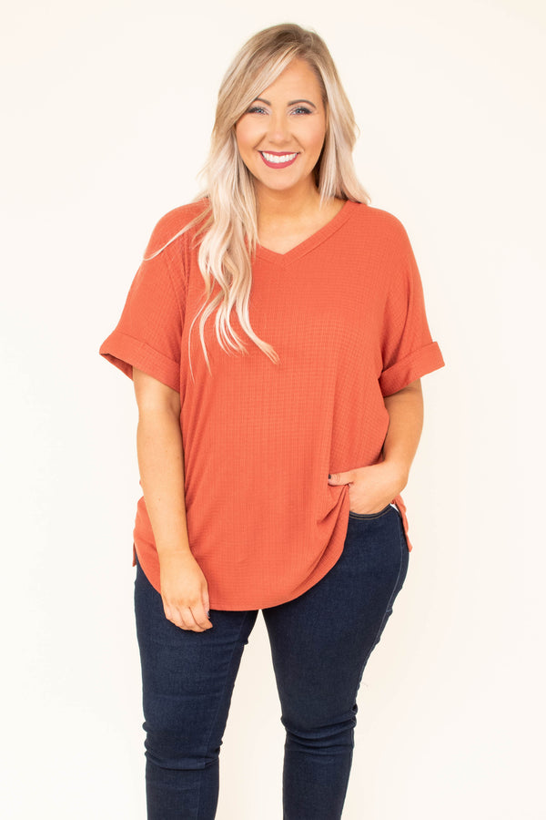 shirt, short sleeve, vneck, cuffed sleeve, long, waffle knit, flowy, orange, comfy