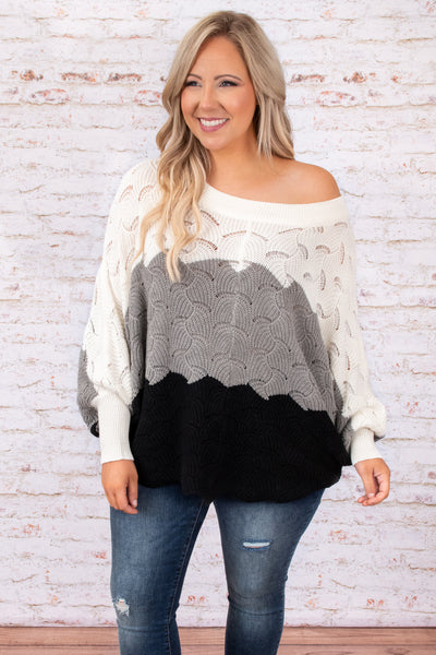 sweater, colorblock, ivory, black, oversized, flowy, top