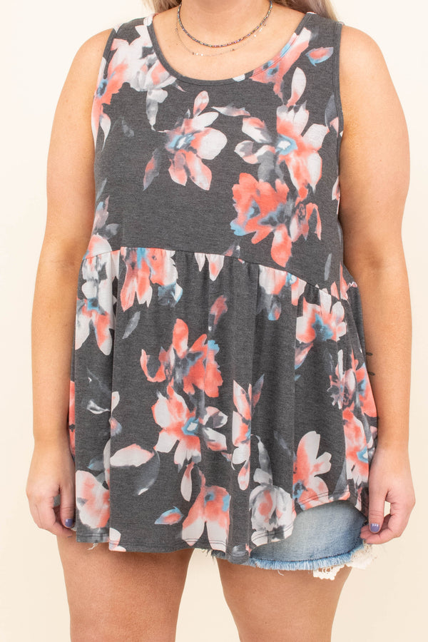 Island Of Flowers Tunic, Charcoal