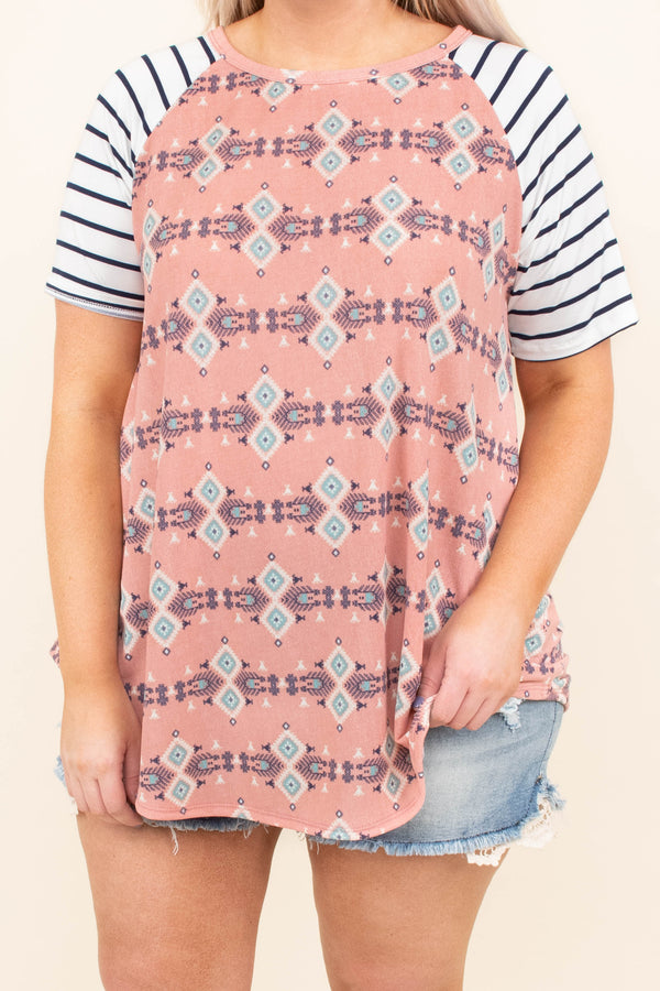 Printed Perfection Top, Coral