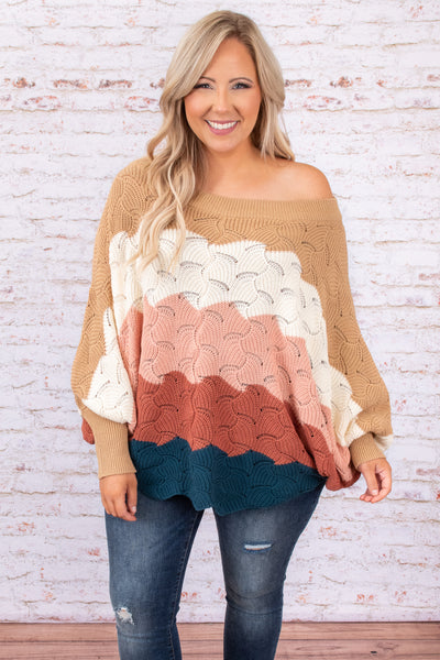colorblock, sweater, long sleeve, multi tan, figure flattering, off the shoulder
