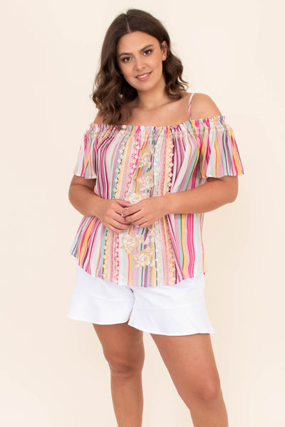 shirt, off the shoulder, spaghetti strap, stripes, multi colored, loose, comfy, short sleeve, embroidery, spring, summer, pink, green, yellow, white