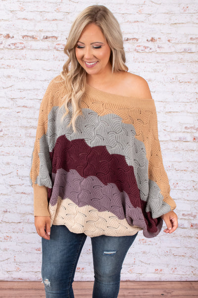 top, sweater, fall, stripes, brown, gray, purple, long sleeve