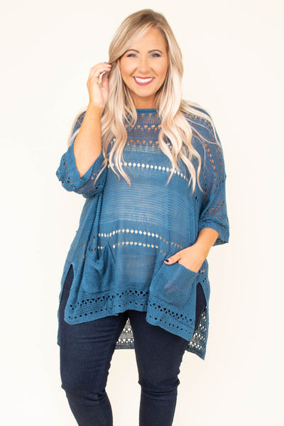 shirt, three quarter sleeve, loose sleeves, long, slit sides, crochet details, sheer, blue, solid, comfy, flowy, pockets