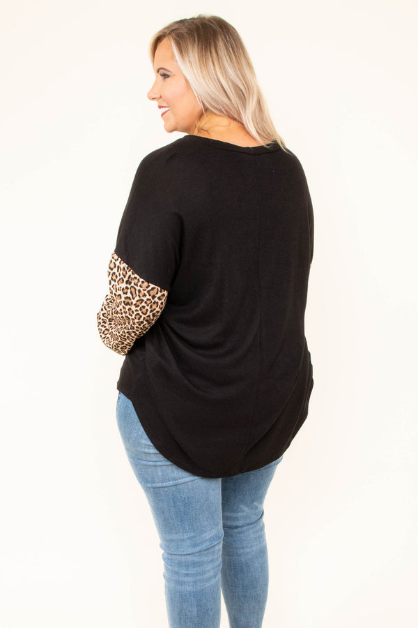 shirt, long sleeve, bubble sleeve, curved hem, black, solid, leopard sleeves, dropped shoulder, comfy, fall, winter
