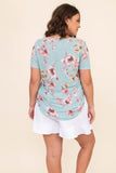 shirt, short sleeve, v neck, floral, mint, pink, loose, comfy