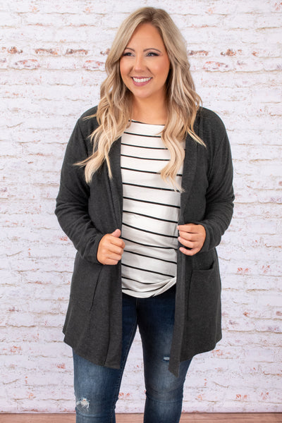 Here For A Lifetime Cardigan, Charcoal