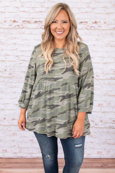 top, tunic, green, camoflauge, long sleeve, babydoll top