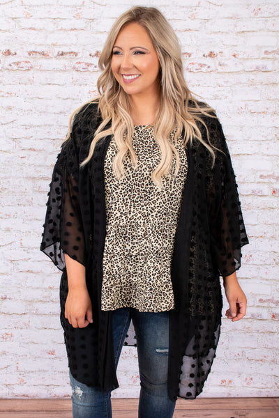 top, cardigan, black, textured, flowy, long, above the knee