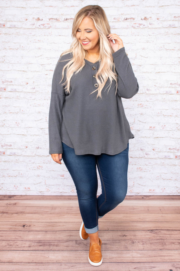 shirt, long sleeve, vneck, quarter button down, waffle knit, gray, solid, curved hem, comfy, fall, winter