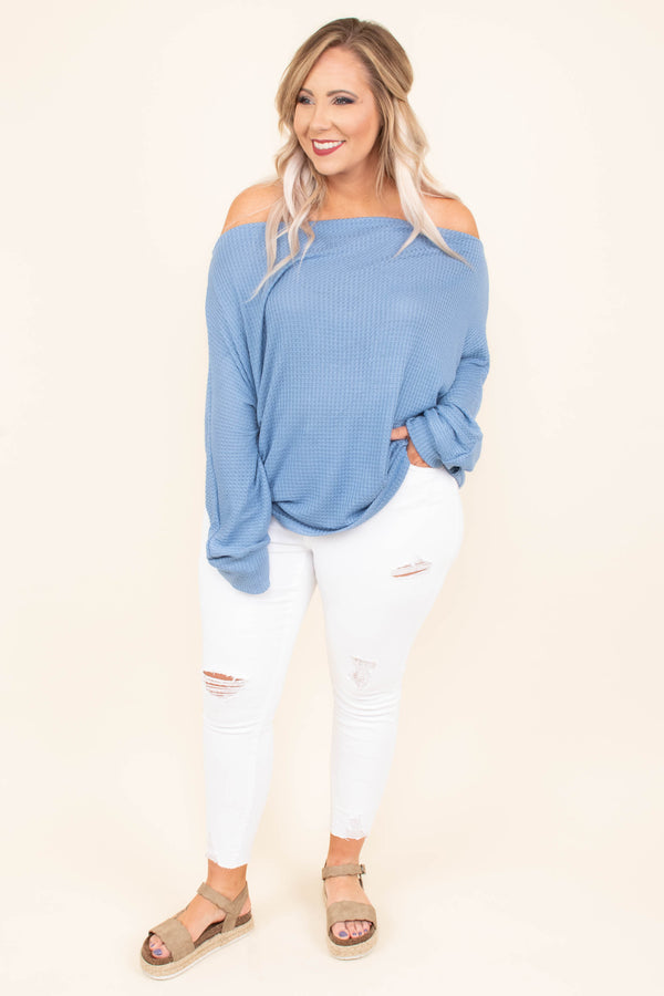 Sugar And Spice Top, Dusty Blue
