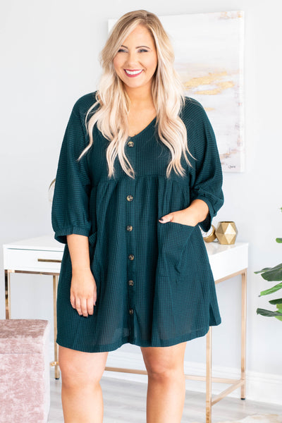 dress, short, three quarter sleeve, vneck, button down, pockets, babydoll, green, solid, waffle knit, comfy, flowy