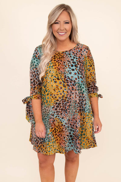 dress, short dress, above the knee, leopard, colorful, multi colored, peach, mint, three quarter sleeve, tie sleeves, a line, comfy